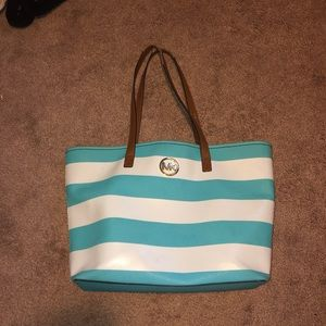 Large Michael Kors blue and white striped tote